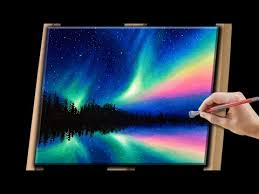 how to paint northern lights painting the northern lights with acrylics youtube
