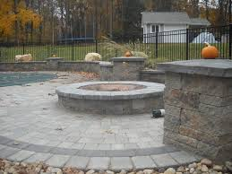 Patio Stone Flooring Ideas by Grey Brick Stone Fire Pit With Bench On Brick Stone Floor And Mini