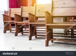 chair church wood pews church benches stock photo 436147552