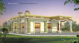 Home Design Front Gallery by Front Elevation Of Single Floor House Kerala With Plans Sq Ft