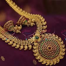 necklace online store images Nl6735 antique traditional mango design long haram kemp necklace JPG