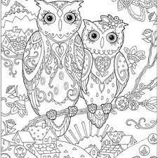 printable owl art fresh cute owls art therapy coloring page stock vector illustration