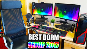 insane college dorm room gaming pc and console gaming setup 2017