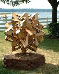 large wood sculpture compass points sculpture by george w hart