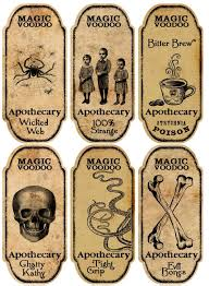 halloween 6 large magic voodoo apothecary bottle labels stickers