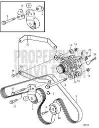 volvo penta exploded view schematic alternator with installation