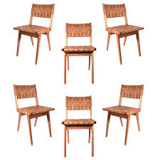 set of six original mel smilow woven leather chairs modern