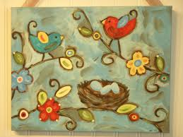 Blue Bird Home Decor Bird Nest Painting Canvas Primitive Folk Art 11 X 14 Original