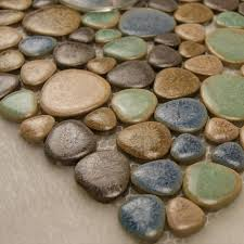 Porcelain Tile Mosaic Pebble Design Shower Tiles Kitchen Backsplash - Pebble backsplash