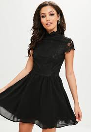 black skater dress black high neck lace skater dress missguided