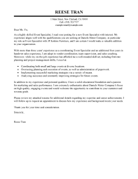 Resume And Cover Letter Examples by Leading Professional Event Specialist Cover Letter Examples