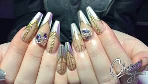 how to sculpt acrylic nails with chrome design youtube