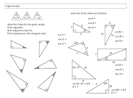 finding missing angles in triangles worksheet trigonometry in right angled triangles