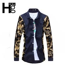new years tops 2015 new printed men fashion cotton designer casual slim fit dress