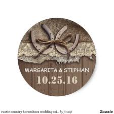 round wedding invitations rustic country horseshoes wedding stickers wedding favor