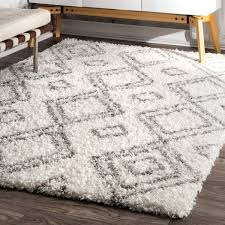 Black And White Rug Overstock Nuloom Alexa Moroccan Trellis White And Grey Shag Rug 8 U0027 X 10