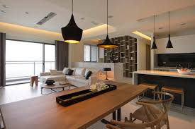 white small modern industrial home living with mezzanine interior