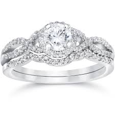 engagement and wedding ring set 14k white gold 3 4ct tdw diamond infinity halo engagement wedding
