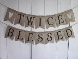 twins baby shower banner twice blessed bunting burlap