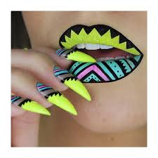 tiffany blue neon yellow and pink stiletto nails with matching