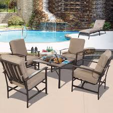 Patio Furniture Sets 5 Pcs Patio Steel Chair Bbq Stove Cushioned Set Outdoor