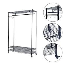 cd wall mounted storage double adjustable clothes hanging rail