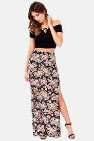 high waisted skirts floral print skirt maxi skirt high waisted skirt black