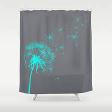 Gray Shower Curtains Fabric Custom Shower Curtain Gray Teal Dandelion Nature Home