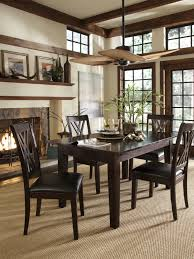 dining room tropical ceiling fan with dark wood dining table