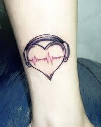 cool men rib side simple audio heart tattoo design image