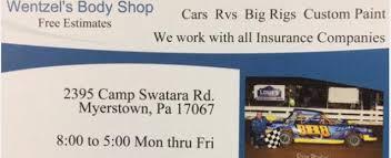 Auto Paint Shop Estimates by Wentzel Shop In Myerstown Pa 17067 Auto Shops