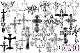 tattoo selection tribal cross tattoo design lizenzfrei nutzbare