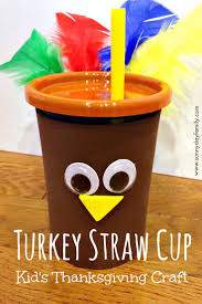 thanksgiving crafts children turkey straw cup jpg