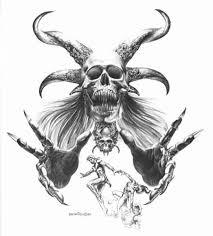 skull and horns design by boris vallejo