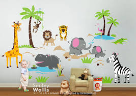 Large Nursery Wall Decals Large Size Animals Wall Decals Apply Positioned Vinyl
