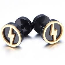 mens earrings 10mm stainless steel stud hoop mens earrings black gold flash