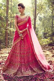 bridal wear pink color designer silk bridal wear lehenga choli from