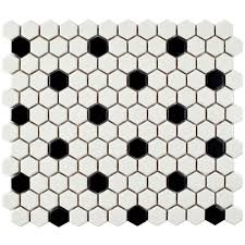 merola tile metro hex matte white with black dot 10 1 4 in x 11 3