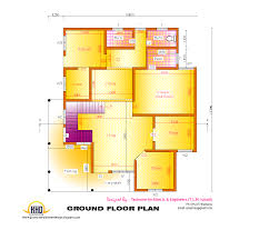 2d elevation and floor plan of 2633 sq feet house design plans