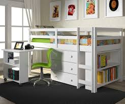 twin size low loft bed in white finish 760w donco trading