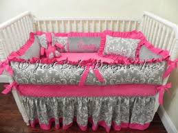 Gray Baby Crib Bedding Baby Bedding Crib Set Emery Gray Damask And Pink Bedding