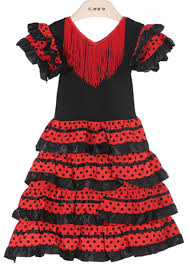 baby girls dress polyester material baby flamenco dresses