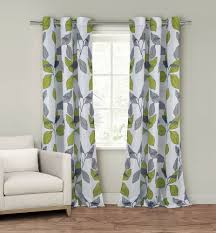 Grey And Green Curtains Set Of Two Window Curtain Panels Grommets White Gray Green Trends