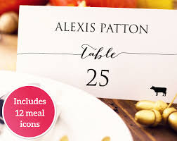 wedding place card with meal icons template diy editable