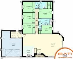 plan maison plain pied en l 4 chambres plan de maison plain pied 4 chambres bureau