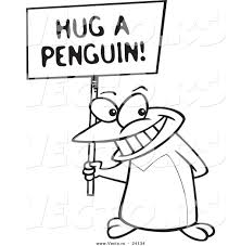 vector of a cartoon penguin holding a hug a penguin awareness sign