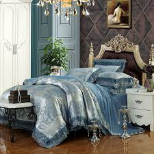 boho style pattern bedding sets blue silver linens silk cotton jacquard 4 6pcs queen king duvet cover set sheets sets in bedding sets from home garden on