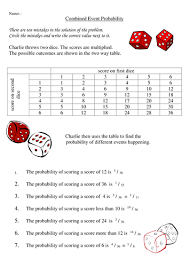 combined event probalility worksheet by carollesley teaching