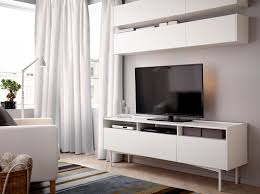 Valje Wall Cabinet Brown Ikea by A Living Room With Wall Cabinets And A Tv Bench All In White