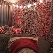 Bedroom Tapestry Wall Hangings Maroon Floral Ombre Mandala Wall Tapestry Bedding Beach Throw